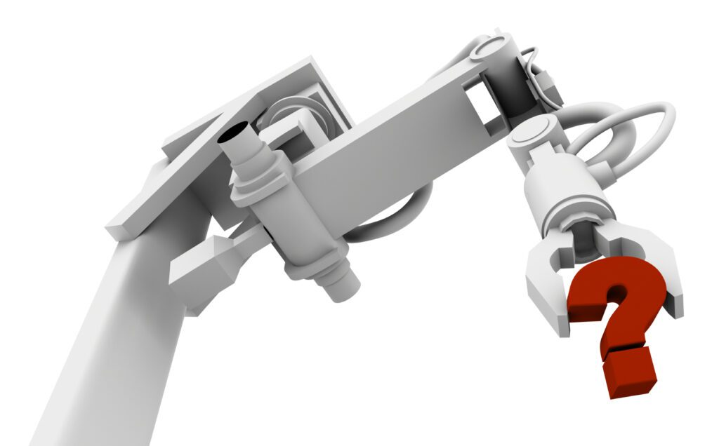 White robot arm with a red question mark held in the gripper